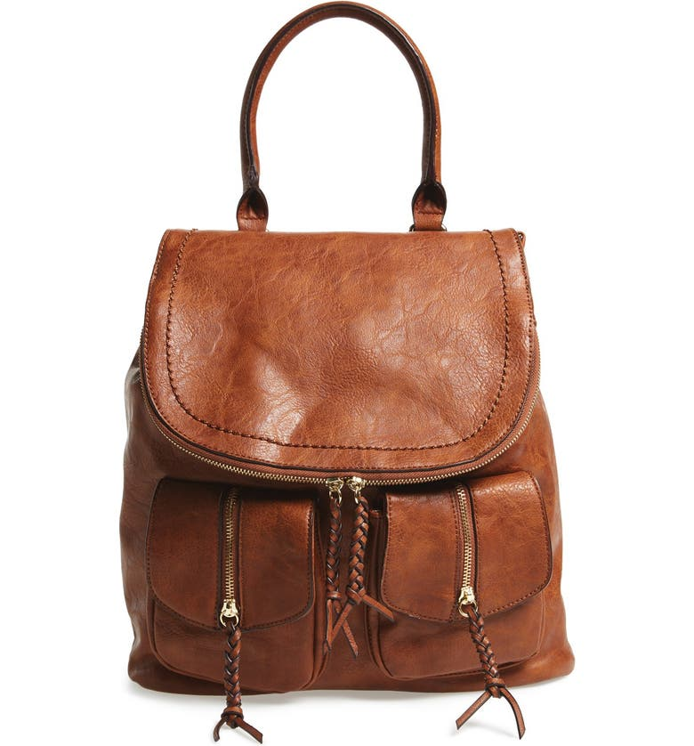 SOLE SOCIETY Emery Faux Leather Backpack, Main, color, 200