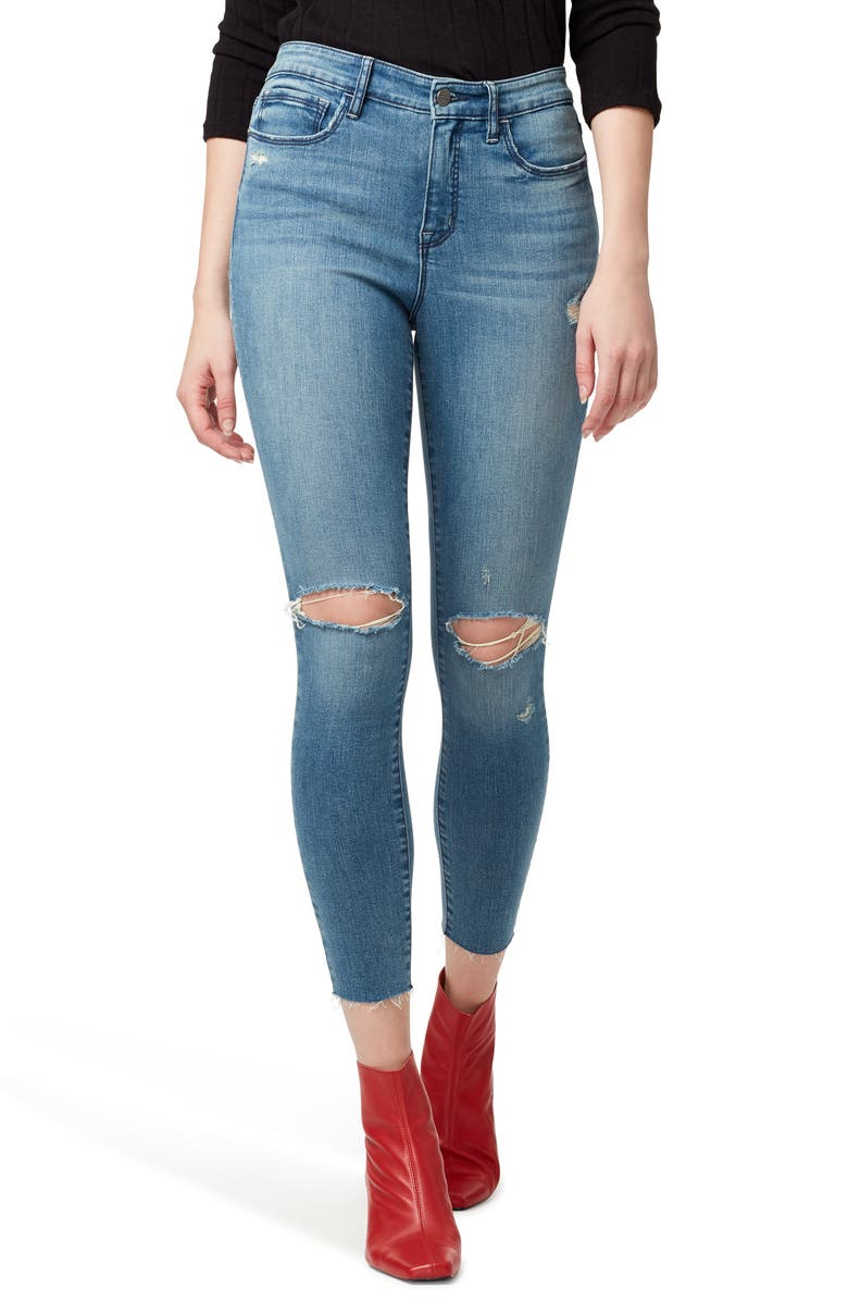SANCTUARY Social Standard Ripped High Waist Ankle Skinny Jeans, Main, color, 450