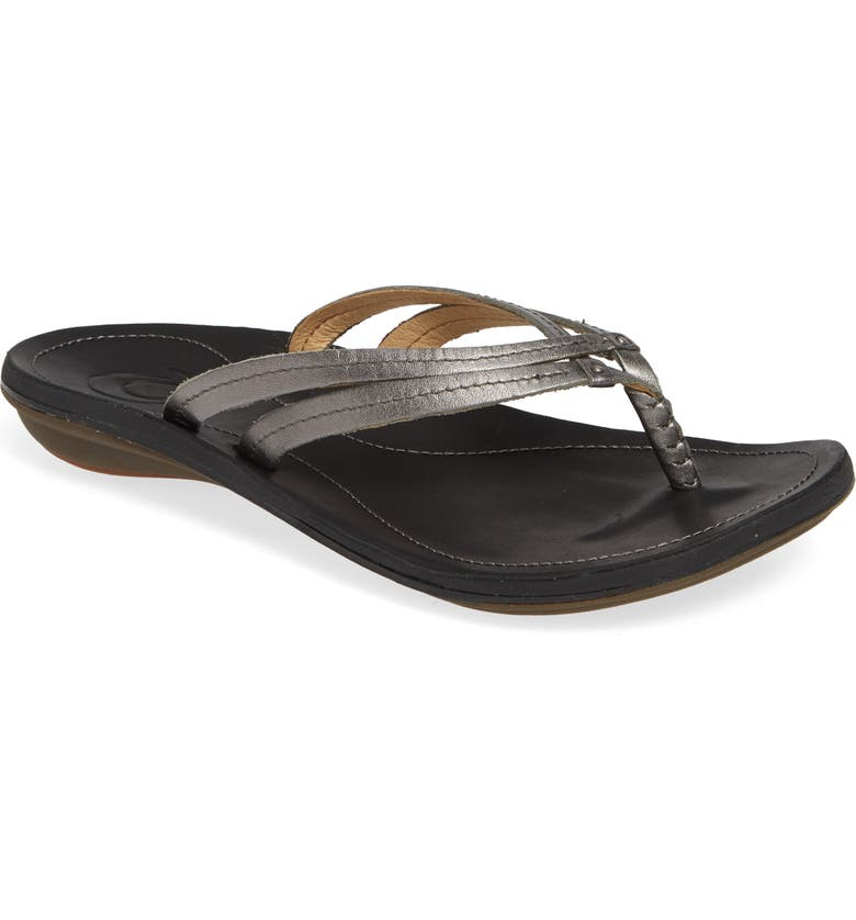 OLUKAI 'U'i' Thong Sandal, Main, color, PEWTER/ BLACK LEATHER