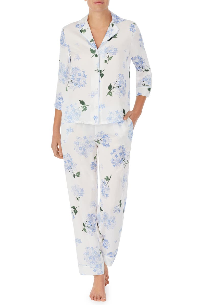 KATE SPADE NEW YORK floral jersey pajamas, Main, color, WHITE FLORAL