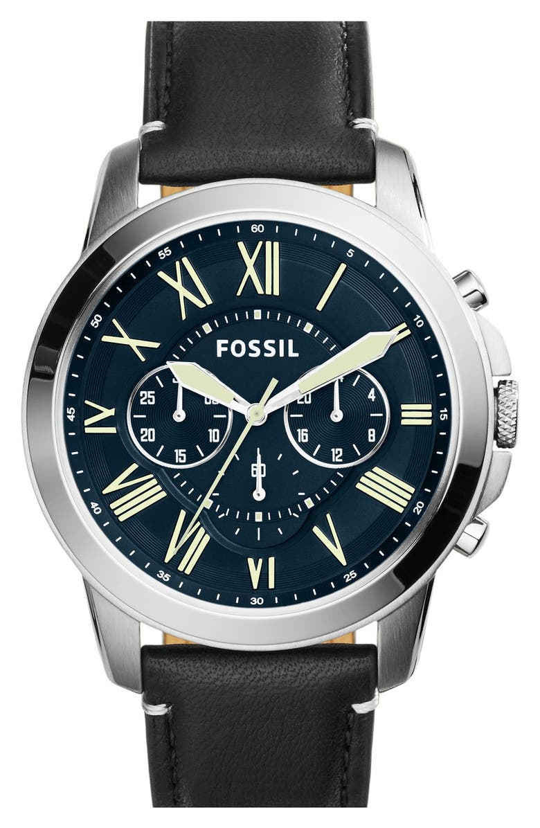 FOSSIL 'Grant' Chronograph Leather Strap Watch, 45mm, Main, color, 001