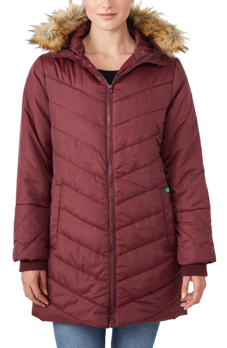 MODERN ETERNITY Faux Fur Trim Convertible Puffer 3-in-1 Maternity Jacket, Main, color, BURGUNDY