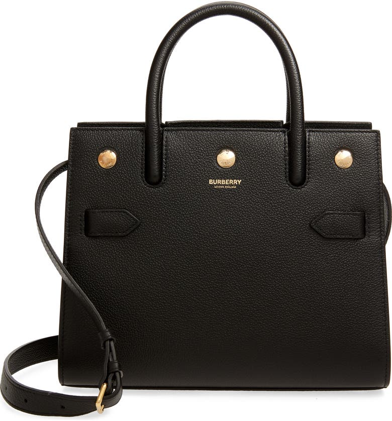 BURBERRY Mini Title Two-Handle Leather Bag, Main, color, BLACK