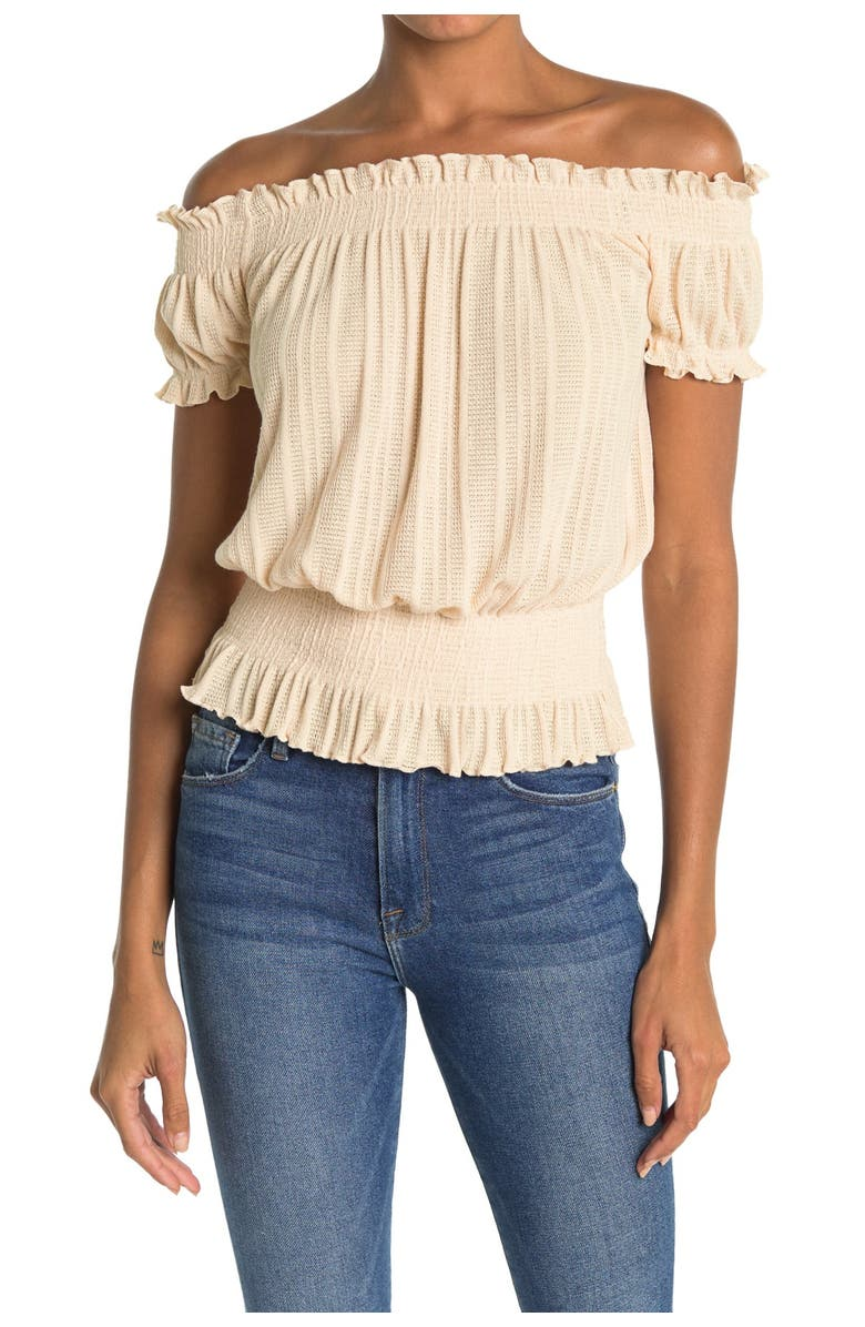 ALL IN FAVOR Off-the-Shoulder Knit Top, Main, color, BUTTER CRE