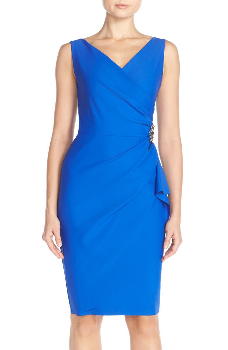 ALEX EVENINGS Side Ruched Cocktail Dress, Main, color, ROYAL