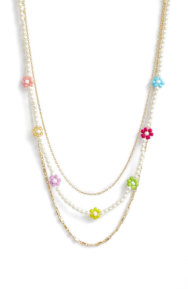 BP. Layered Daisy Bead Necklace, Main, color, WHITE MULTI