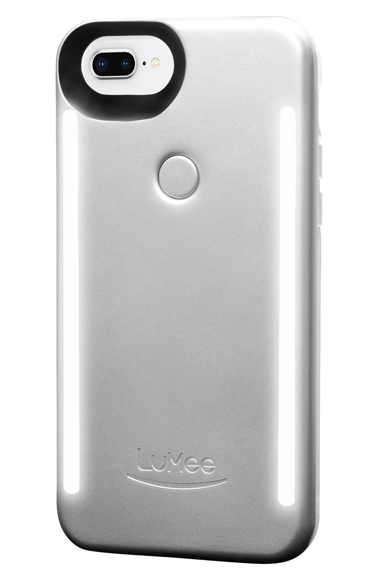 LUMEE Duo LED Lighted iPhone 6/6s/7/8 & 6/6s/7/8 Plus Case, Main, color, ICE GREY