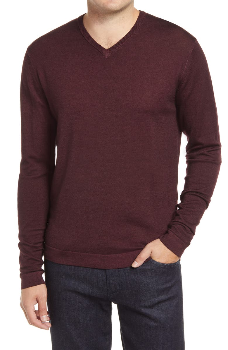 ROBERT BARAKETT Newberry Merino Wool V-Neck Sweater, Main, color, PORT