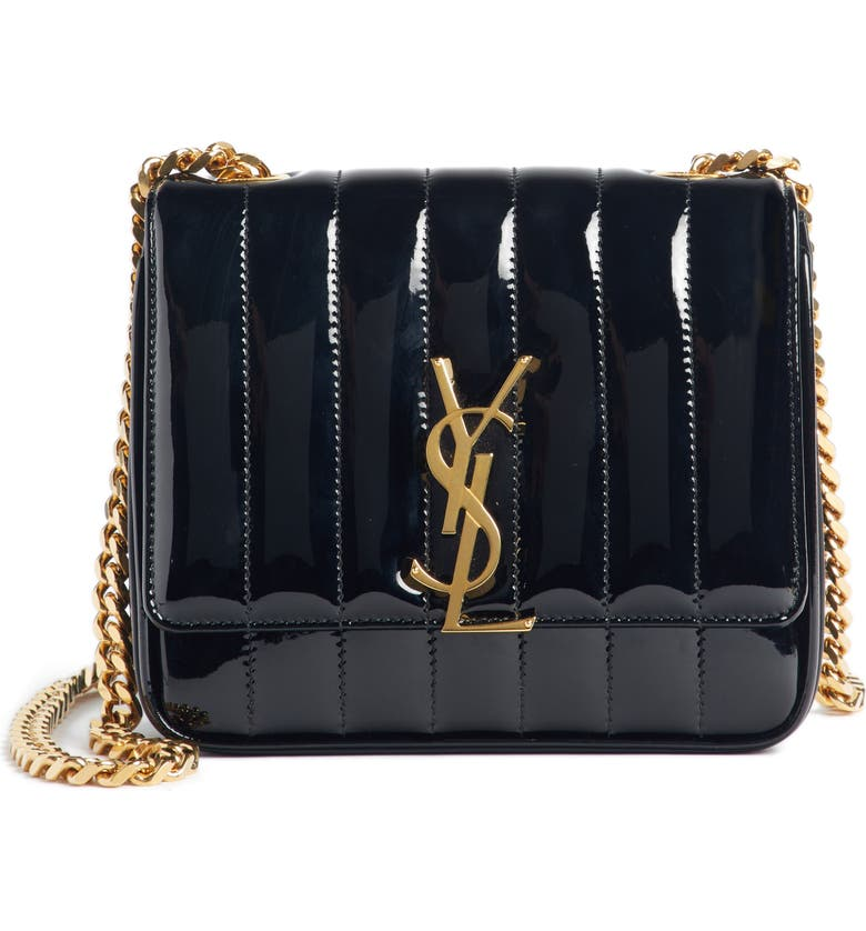 SAINT LAURENT Small Vicky Patent Leather Crossbody Bag, Main, color, NOIR