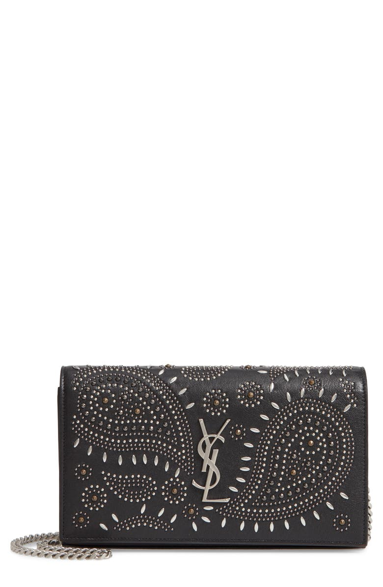 SAINT LAURENT Kate Studded Leather Wallet on a Chain, Main, color, 001