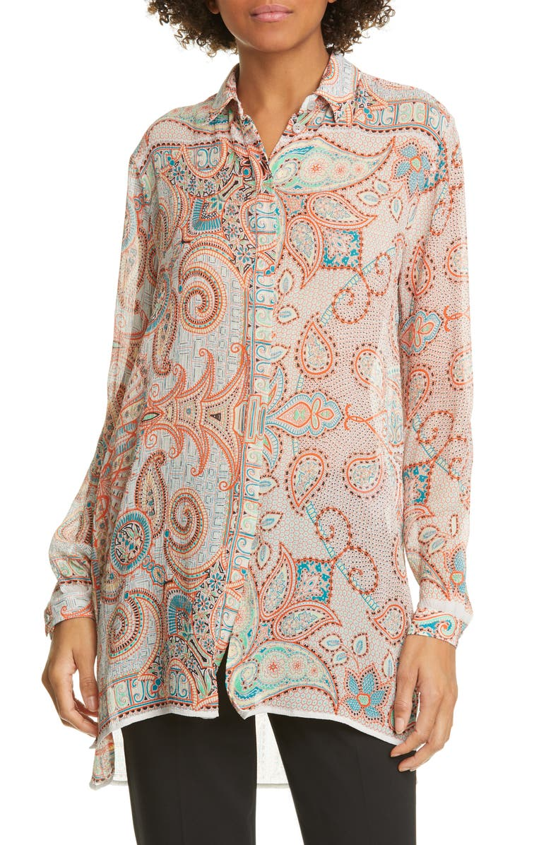 ETRO Paisley High/Low Silk Tunic, Main, color, 800