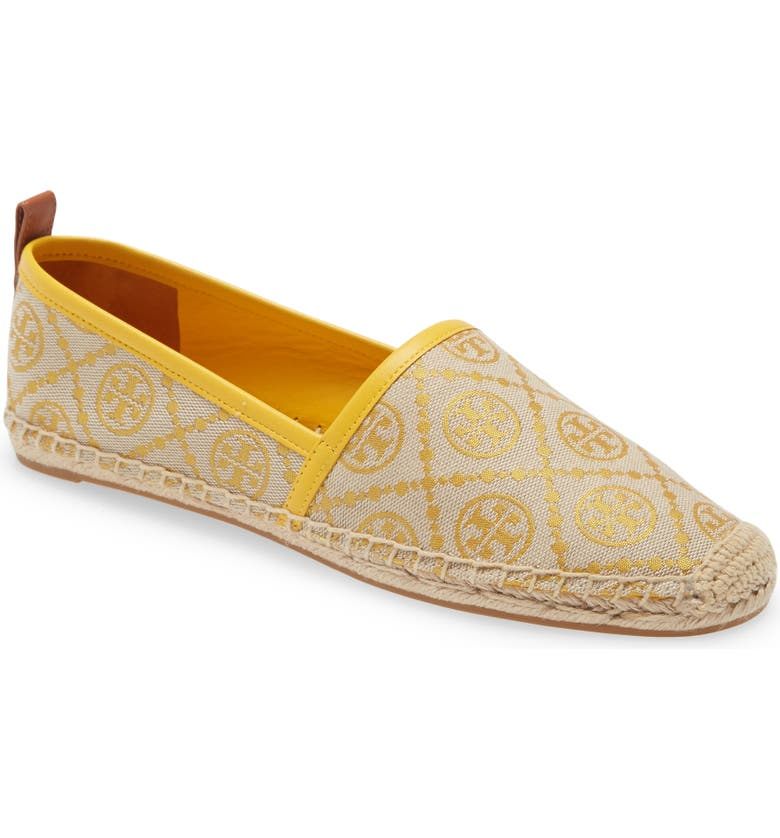 TORY BURCH T Monogram Espadrille Flat, Main, color, GOLDFINCH/ AGED CAMELLO