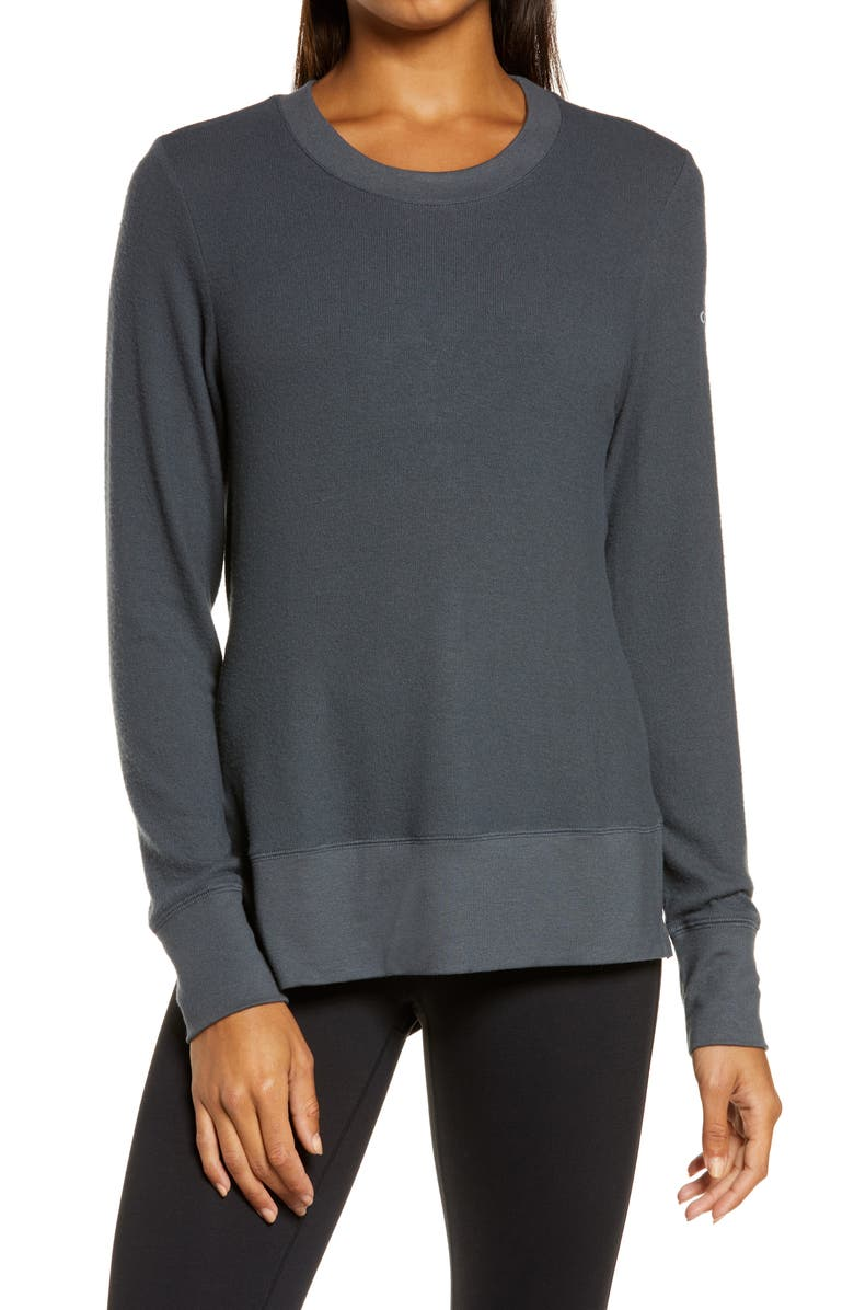 ALO 'Glimpse' Long Sleeve Top, Main, color, ANTHRACITE