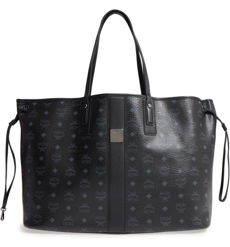 MCM Large Liz Reversible Shopper, Main, color, JET BLACK