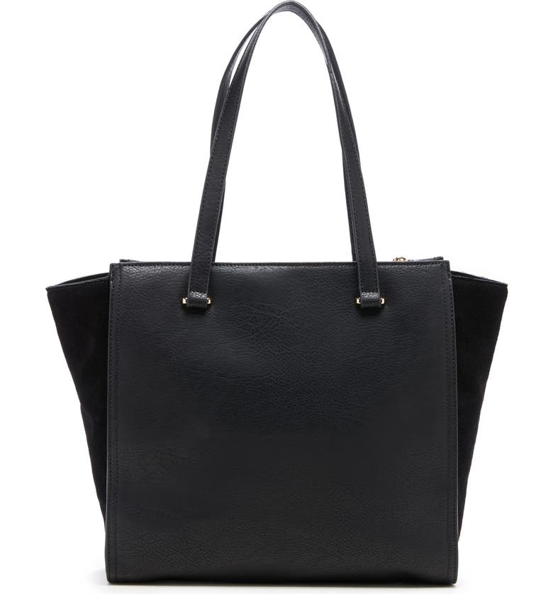 SOLE SOCIETY Chele 2 Faux Leather & Genuine Suede Tote, Main, color, 001