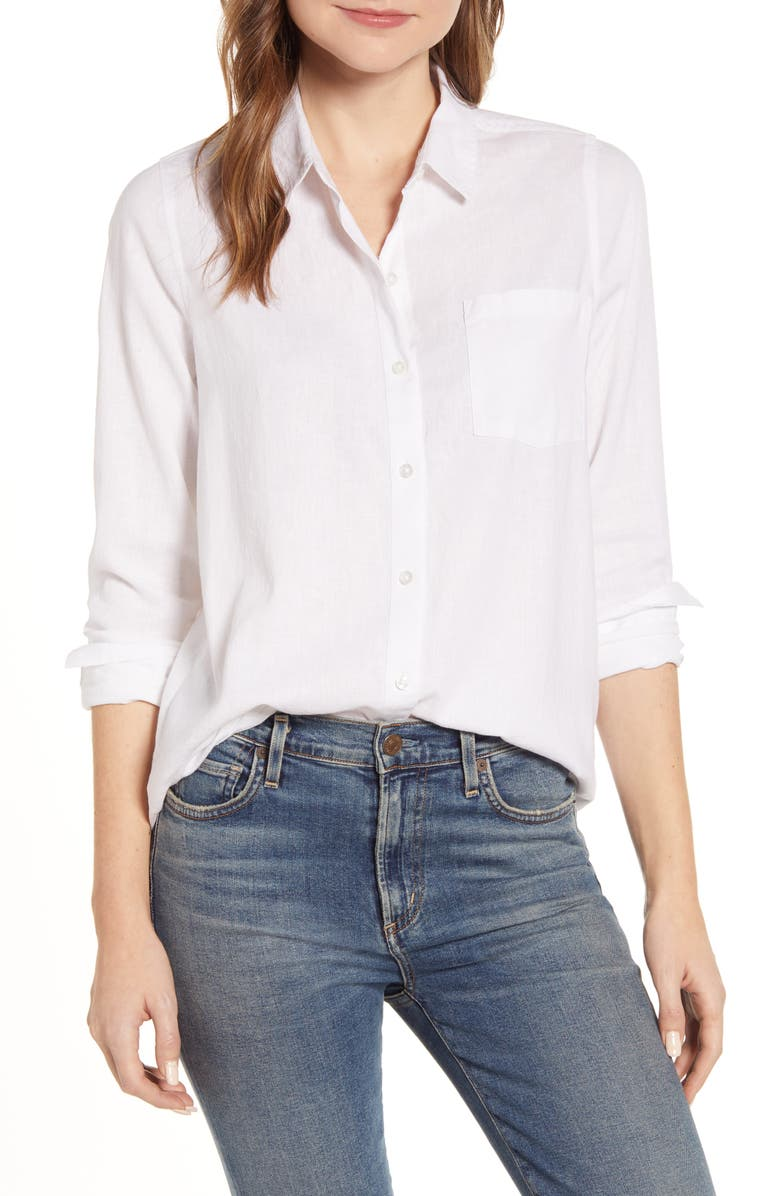 LUCKY BRAND Classic Woven Shirt, Main, color, LUCKY WHITE