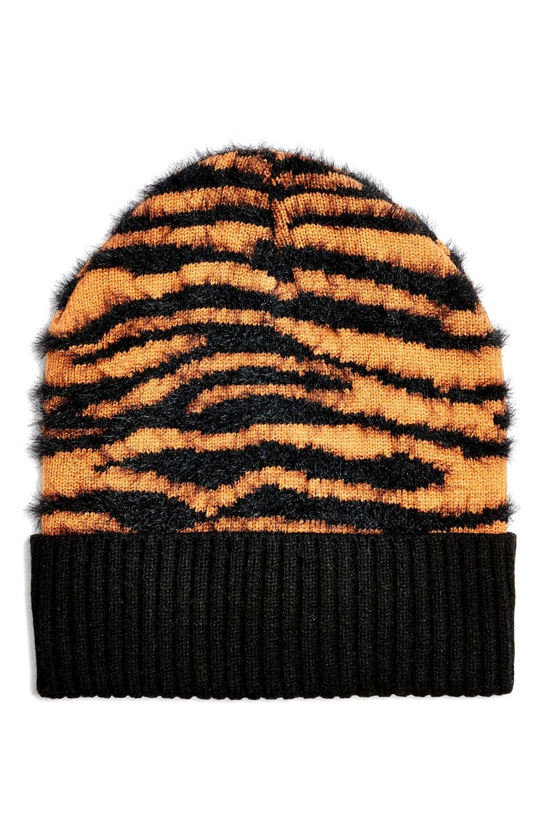 TOPSHOP Tiger Stripe Beanie, Main, color, 200