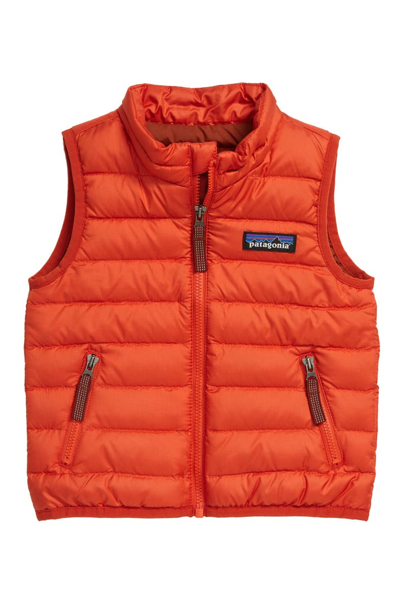 PATAGONIA Windproof & Water Resistant Down Sweater Vest, Main, color, HOT EMBER