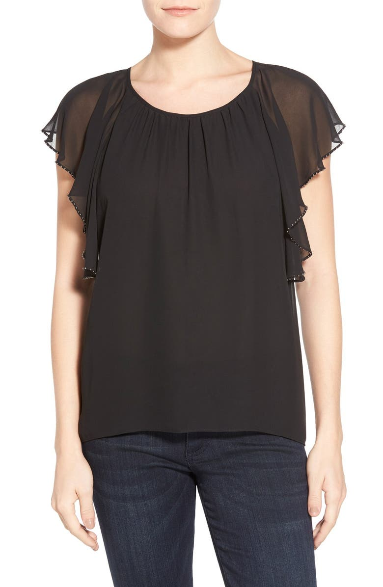 TWO BY VINCE CAMUTO Embellished Flutter Sleeve Chiffon Top, Main, color, RICH BLACK