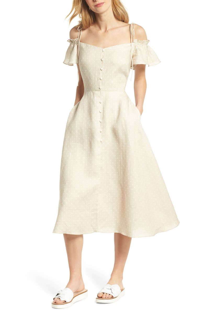 GAL MEETS GLAM COLLECTION Colleen Polka Dot Off the Shoulder Dress, Main, color, CREAM/ ECRU