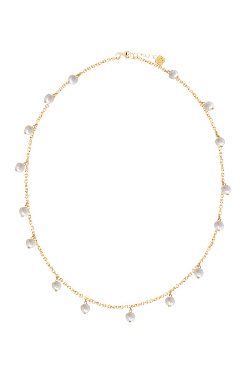 GABI RIELLE 14K Yellow Gold Vermeil 5mm Pearl Shaker Necklace, Main, color, GOLD