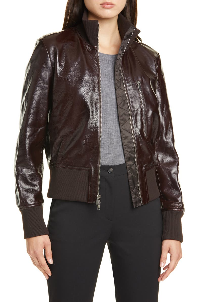 THEORY Patent Leather Aviator Bomber Jacket, Main, color, 247