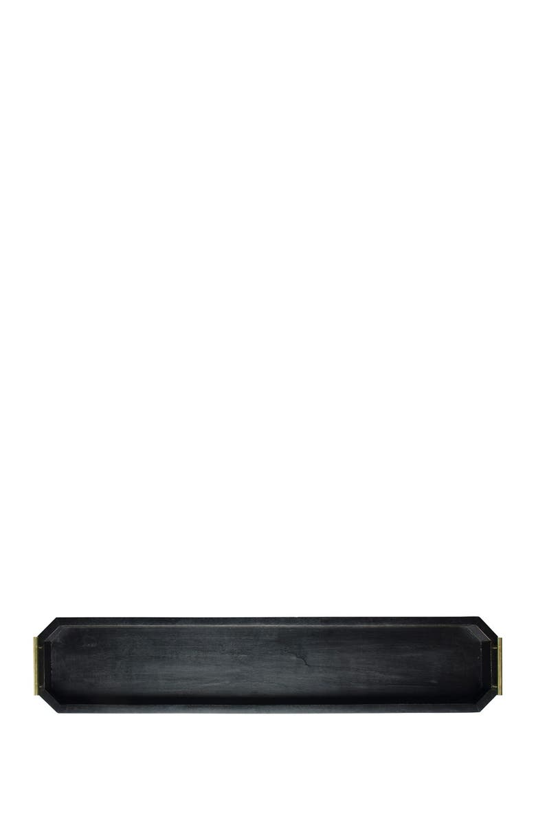 """HOME ESSENTIALS AND BEYOND 39""""L Blackwash Geometric Tray with Metal Handle - Set of 2, Main, color, NO COLOR"""