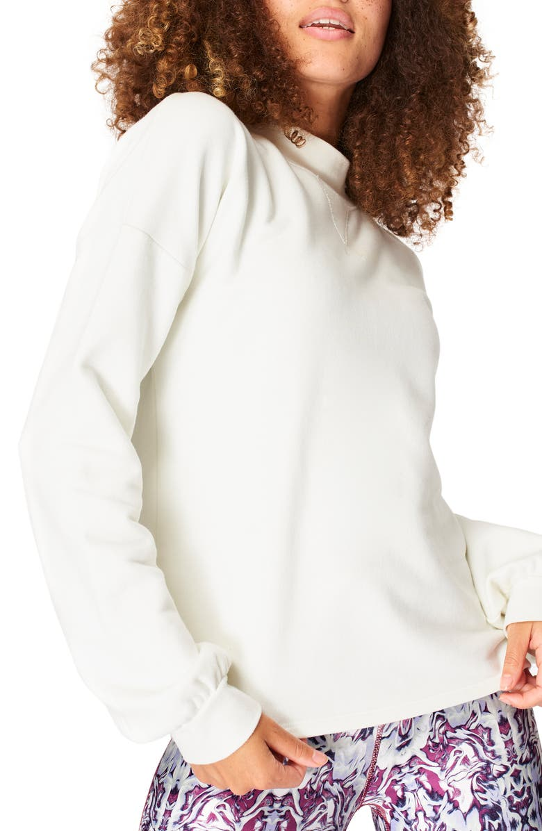 SWEATY BETTY Recline Open Back Sweatshirt, Main, color, LILY WHITE