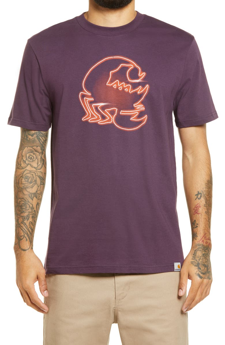 CARHARTT WORK IN PROGRESS Neon Scorpio Graphic Tee, Main, color, BOYSENBERRY