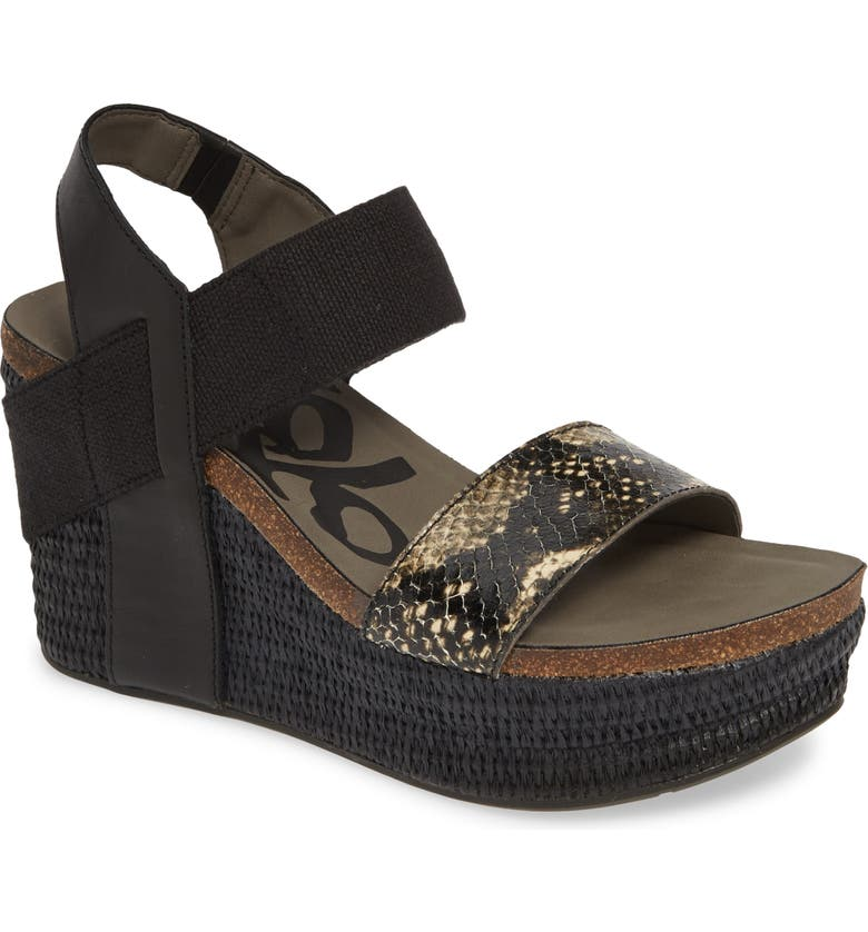 OTBT 'Bushnell' Wedge Sandal, Main, color, BLACK/ BLACK LEATHER