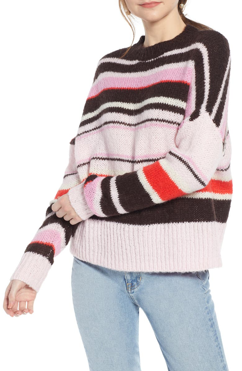 SOMETHING NAVY Stripe Sweater, Main, color, 660