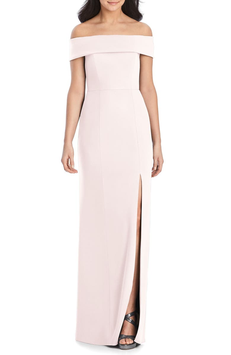 DESSY COLLECTION Off the Shoulder Crepe Column Gown, Main, color, BLUSH