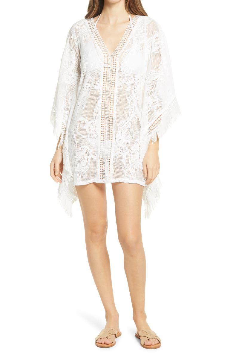 LILLY PULITZER<SUP>®</SUP> Skyla Mesh Cover-Up Dress, Main, color, JELLYFISH CRITTER CROCHET