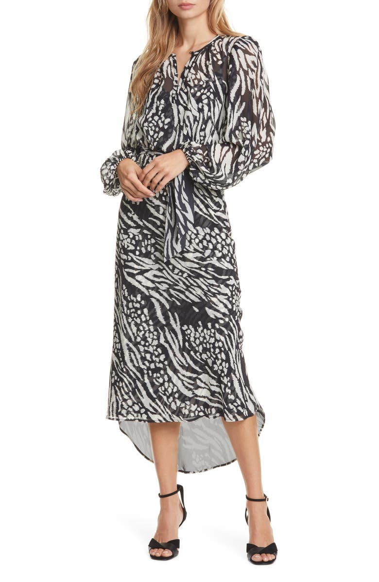 VERONICA BEARD Mavis Stripe & Spot Print Long Sleeve Silk Dress, Main, color, 009