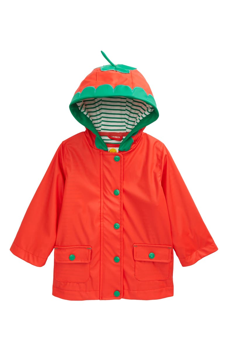 MINI BODEN Kids' Water Resistant Strawberry Raincoat, Main, color, STRAWBERRY TART RED
