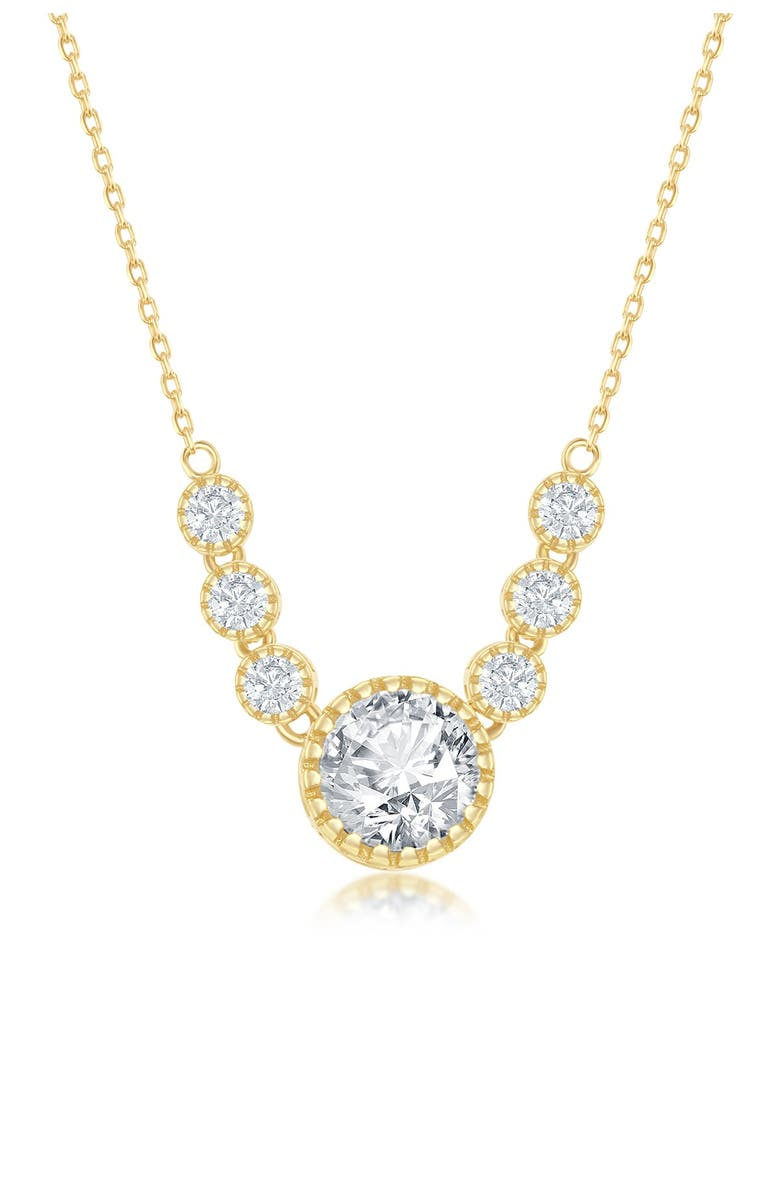 SIMONA 14K Yellow Gold Plated Sterling Silver CZ Collar Necklace, Main, color, GOLD