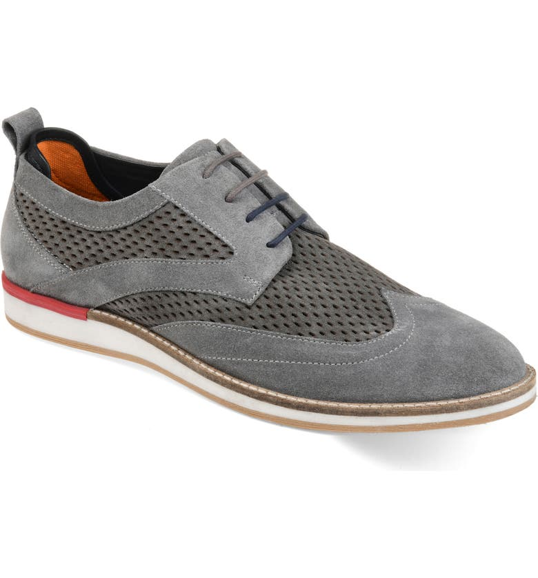 THOMAS & VINE Jett Perforated Wingtip, Main, color, GREY SUEDE