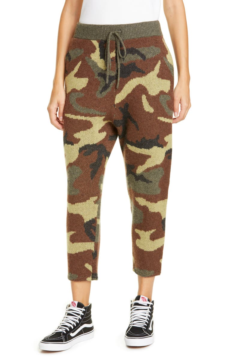 R13 Camo Jacquard Cashmere Sweater Pants, Main, color, 325