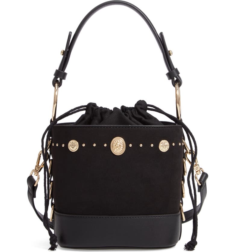 TOPSHOP Bianca Studded Faux Leather Bucket Bag, Main, color, 001