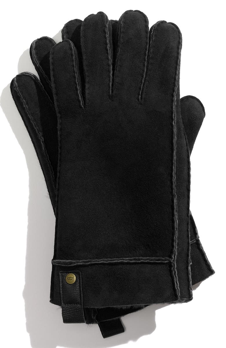 UGG<SUP>®</SUP> Genuine Shearling Gloves, Main, color, 001