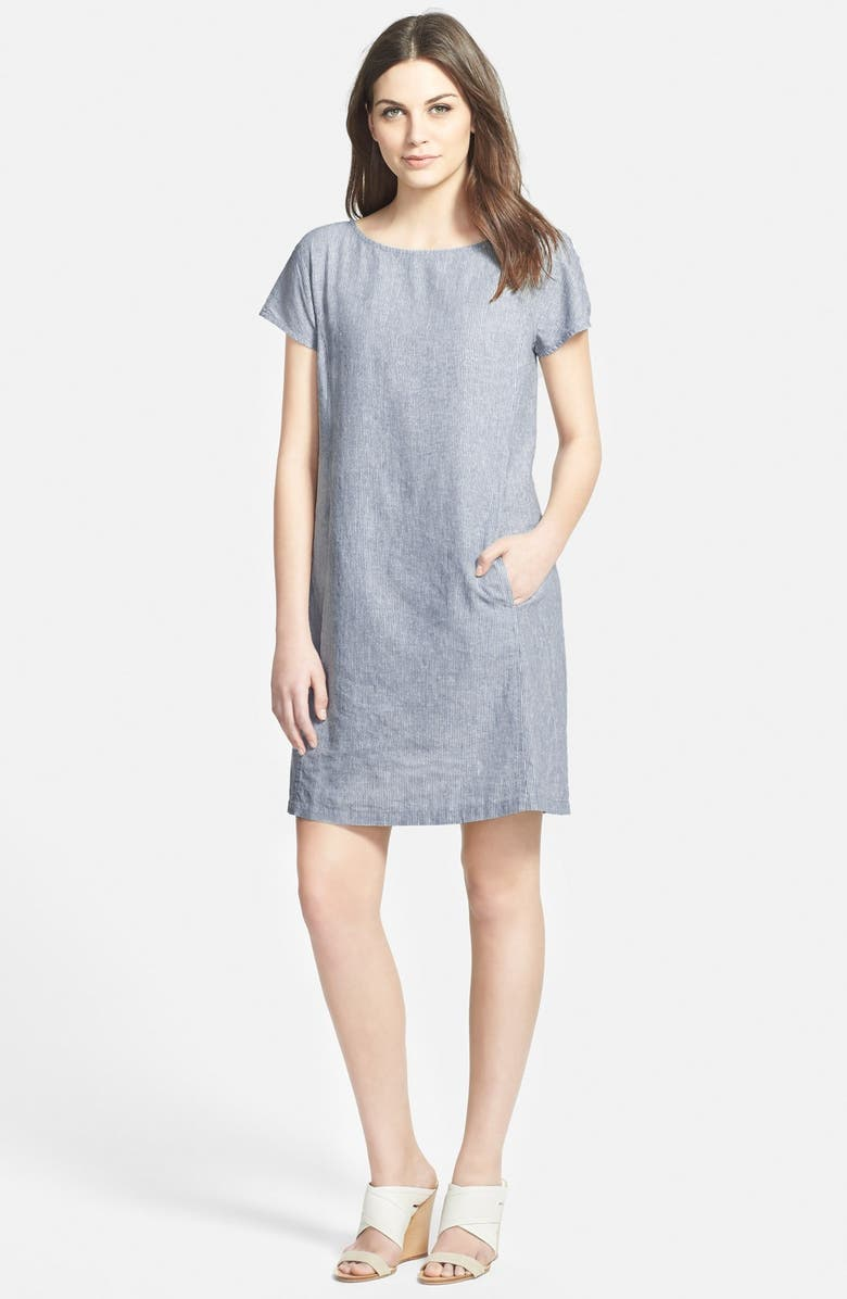 EILEEN FISHER Stripe Chambray Shift Dress, Main, color, CHAMBRAY