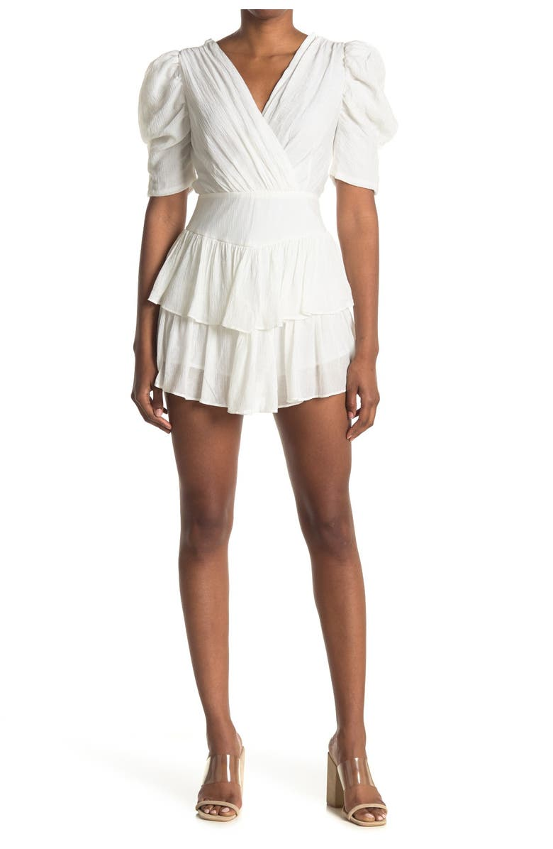 DO AND BE Puff Sleeve V-Neck Dress, Main, color, WHITE