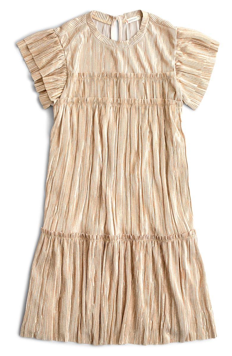 CREWCUTS BY J.CREW Shimmer Metallic Flutter Sleeve Dress, Main, color, 100