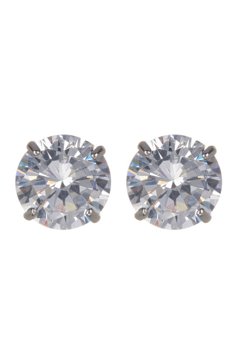 CANDELA JEWELRY 14K White Gold CZ Stud Earrings, Main, color, CLEAR
