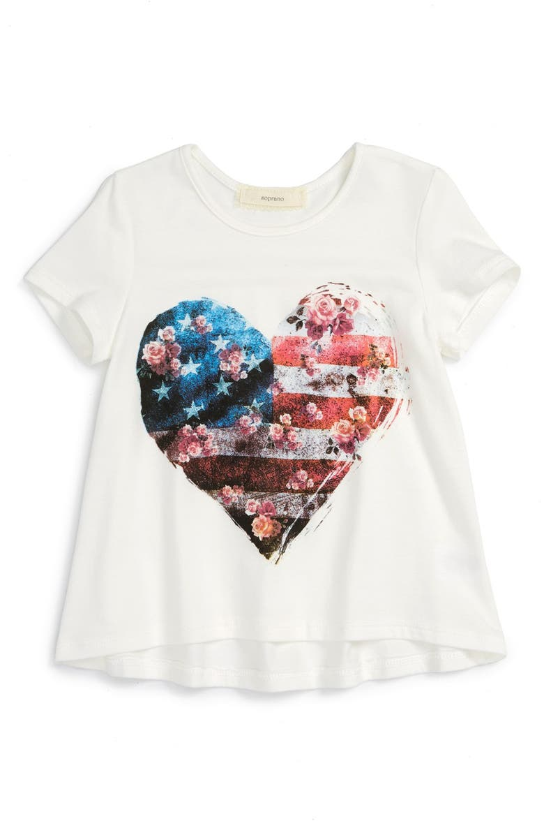 SOPRANO 'Heart Flag' Graphic High/Low Hem Tee, Main, color, White