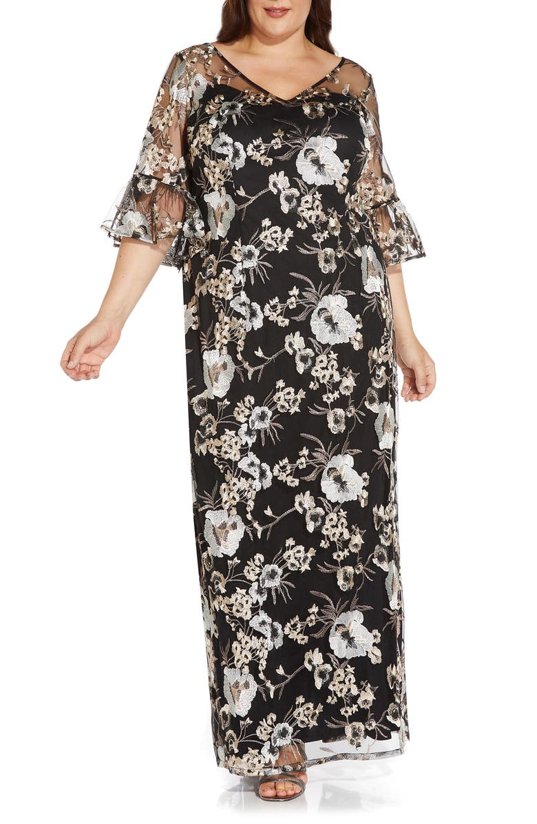 ADRIANNA PAPELL Floral Embroidered Column Gown, Main, color, BLACK MULTI