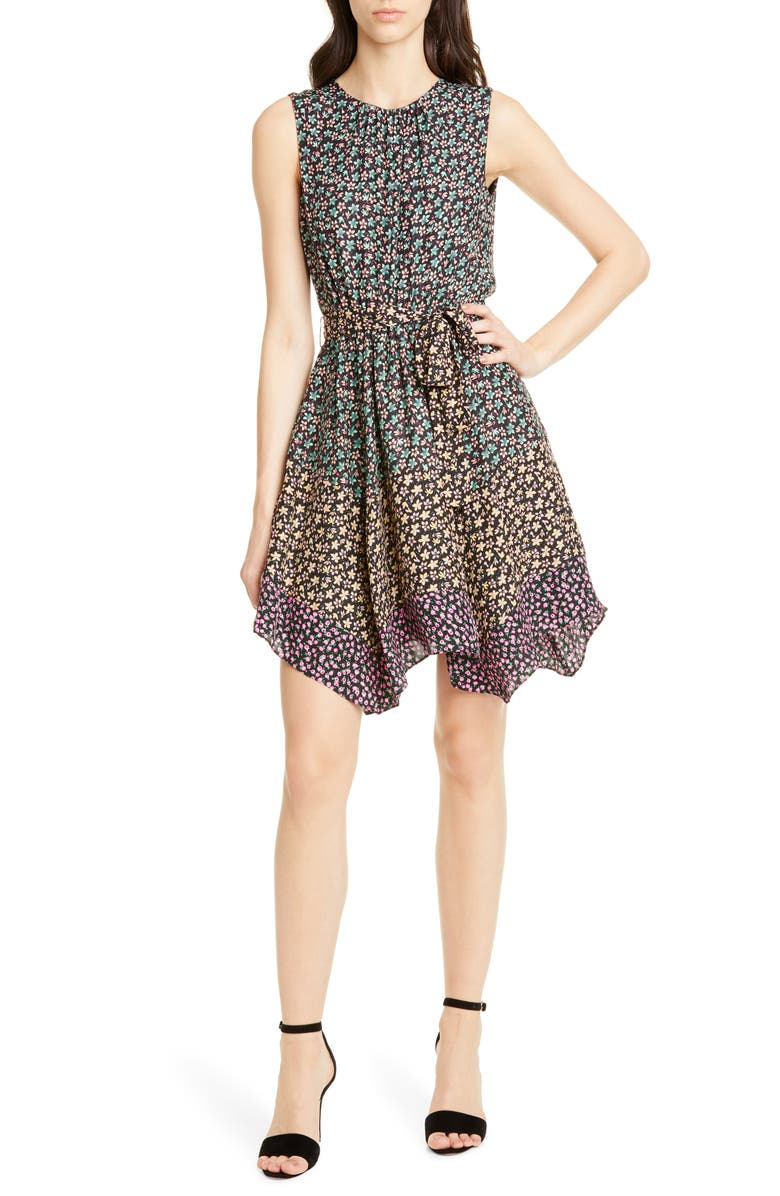REBECCA TAYLOR Floral Print Silk Dress, Main, color, 001