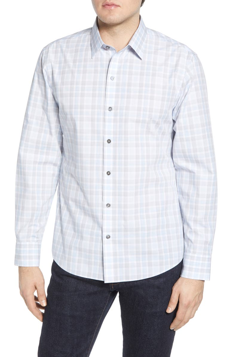 ZACHARY PRELL Limin Regular Fit Plaid Button-Up Sport Shirt, Main, color, 100