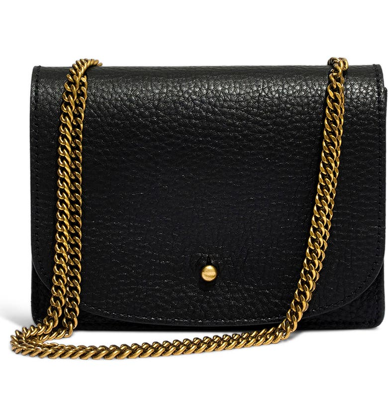 MADEWELL Leather Crossbody Wallet, Main, color, TRUE BLACK