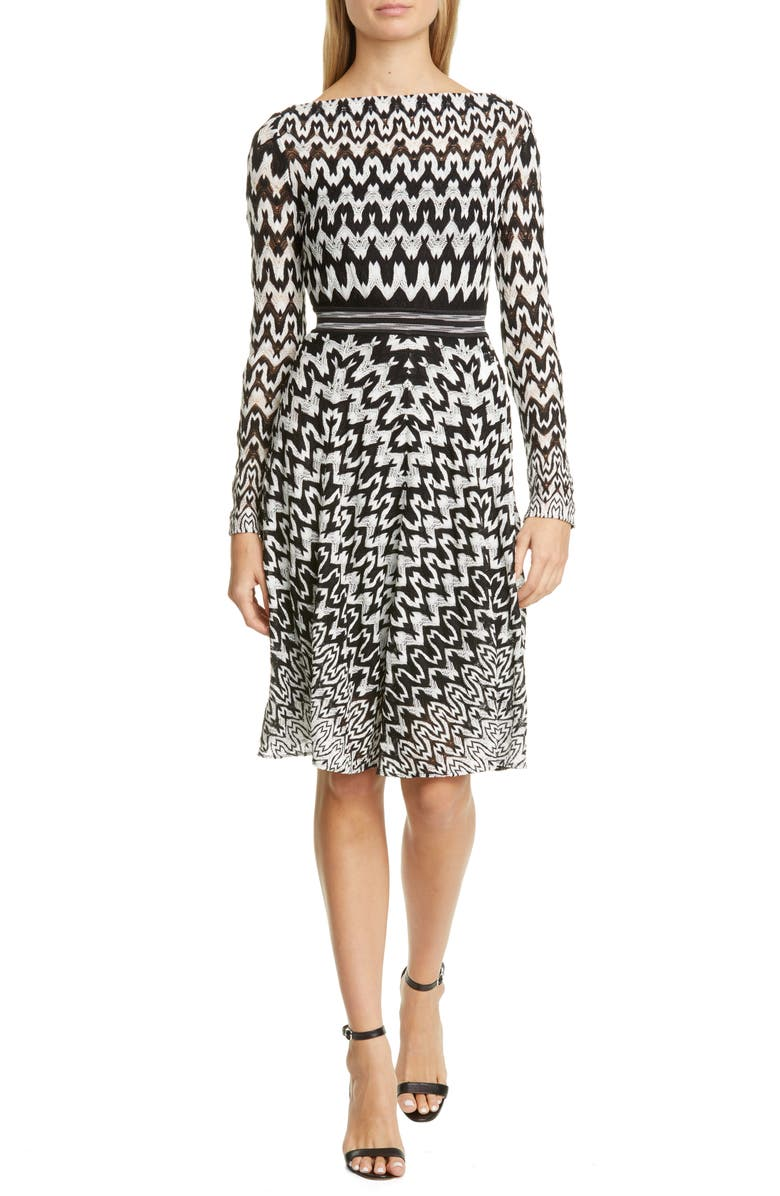 MISSONI Zigzag Long Sleeve Fit & Flare Dress, Main, color, 001